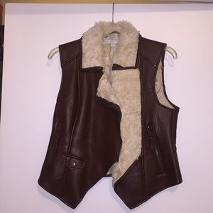 Faux leather and Sherpa lined vest